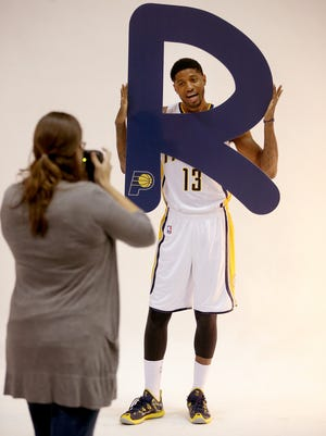 """""""R"""" for ready? Paul George hammed it up for media day in September. He has said he hopes to return to playing in mid-March."""