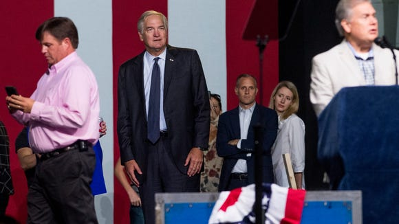 Luther Strange looks on during sound checks for his Senate Rally with Donald Trump at the Von Braun Center in Huntsville, Ala. on Friday September 22, 2017.