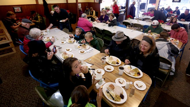 The 11th annual free community dinner at the Covered Bridge Cafe in Stayton in 2016.