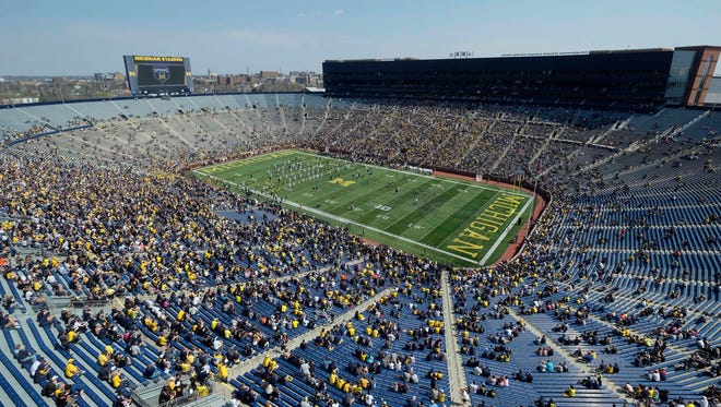 Apr 15, 2017; Ann Arbor, MI, USA; General view during the spring game at Michigan Stadium.