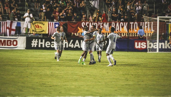 """Reno 1868 FC took home the """"Donner Pass Derby'regular-season series after beating rival Sacrament Republic FC 2-1, Saturday"""