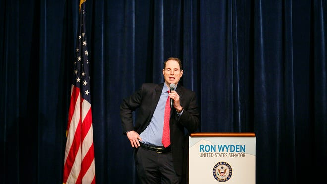 US Senator Ron Wyden speaks at a town hall at Stayton High School on Friday, Sept. 22, 2017.