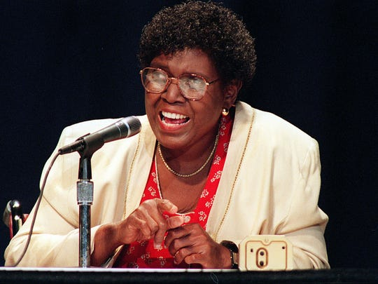 Barbara Jordan, chairperson of the Commission on Immigration Reform, speaks at the United We Stand America National Conference on Aug. 12, 1995.