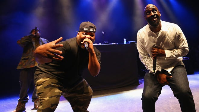 Dave, left, Maseo and Posdnuos of De La Soul perform live on stage at 02 Shepherd's Bush Empire on May 1, 2014 in London, England.