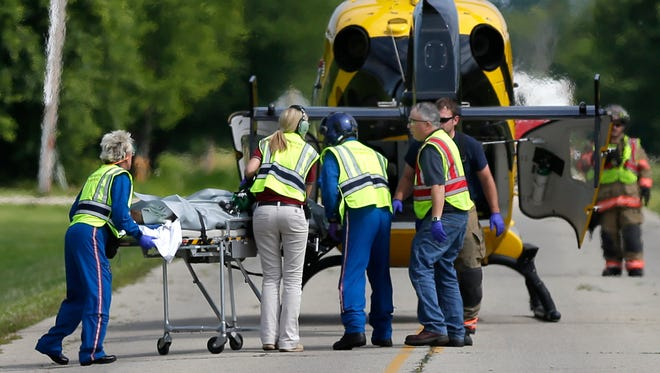 There was a two-vehicle crash at the intersection of Julius Dr. and Spring Rd. on Tuesday in Greenville that required an emergency medical helicopter.