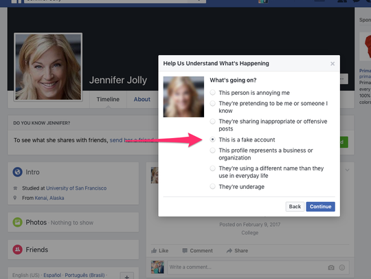 How to report the scam on Facebook