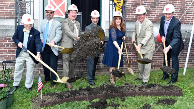 A groundbreaking is held for the Rose Rent Loft project on Friday, June 9, 2017. McKissick Properties, LLC, s will convert the former Central Junior High School into high-end lofts and apartments.