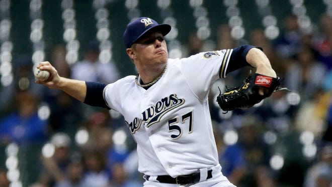 Brewers starter Chase Anderson allows two runs (one earned) on seven hits in 5 1/3 innings on Wednesday against the Pirates while pitching on short rest.