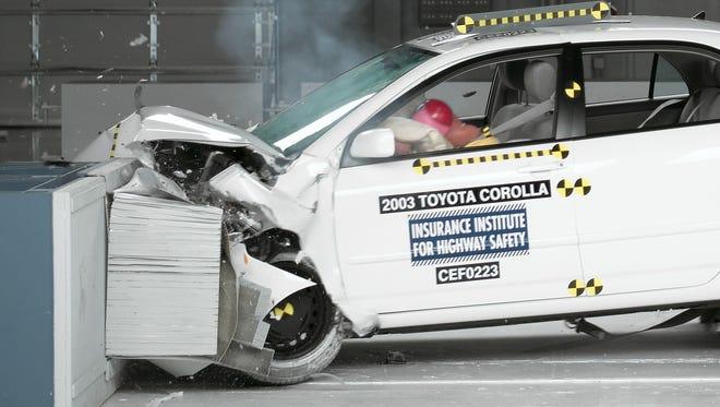 A crash test of a 2003 Toyota Corolla.
