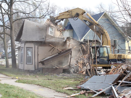 122 North Street crumbles under the hydraulic power