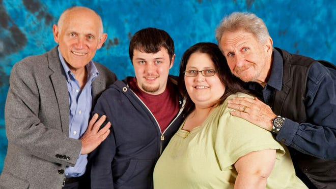 "Kim Huff and her son Jonny grab a photo op with ""Star Trek: Deep Space Nine"" actors Armin Shimerman (Quark, left) and Rene Auberjonois (Odo) in 2013."
