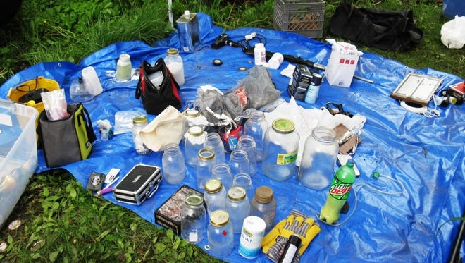 Evidence from a meth lab where Sanilac County Drug Task Force members assisted Huron County and Bad Axe law enforcement.
