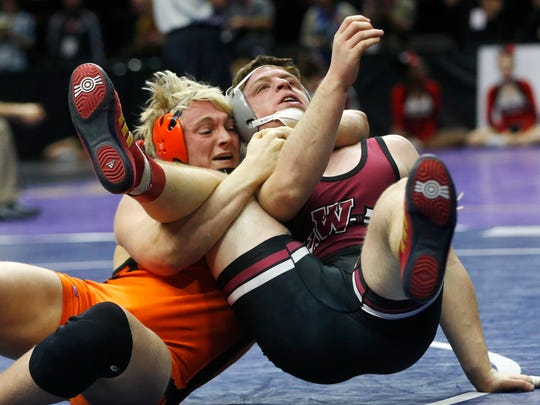 Valley's Rocky Lombardi flips Waterloo West's Sam Gerst over for the pin Friday, Feb. 17, 2017 during the class 3A semifinals at the 2017 State Wresting Tournament at Wells Fargo Arena in Des Moines.