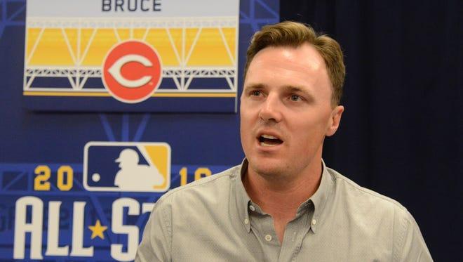Jay Bruce talks during media day for the MLB All Star Game at the Grand Hyatt.