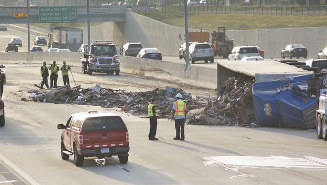 A garbage truck flipped on westbound 96 just east of Merriman in Livonia. Traffic backed up nearly to Telegraph.
