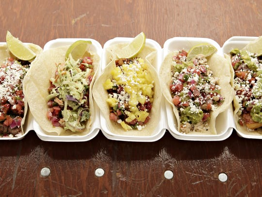 The taco lineup at Brushfire Tacos y Tapas includes steak, shrimp, pork, grilled chicken and veggie.