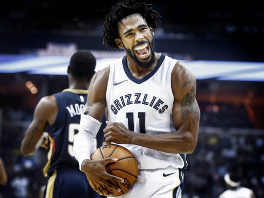 Memphis Grizzlies guard Mike Conley celebrates during a 103-91 victory over the New Orleans Pelicans at the FedExForum in Memphis, Tenn., Wednesday, October 18, 2017.