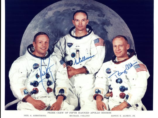 Official photo of the Apollo 11 prime crew. From left