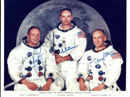 Official photo of Apollo's main crew 11. From the left