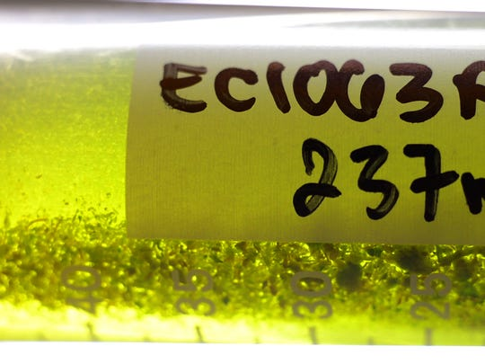 Marijuana flower dissolved in a solvent awaits filtering before being tested at Champlain Valley Dispensary's lab.