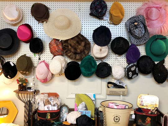 This booth features vintage women's accessories and