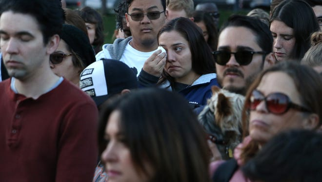 Olivia Salinas sheds a tear during a vigil in Reno for the victims of the mass shooting in Las Vegas on Oct. 2, 2017. Jason Bean/Reno Gazette-Journal- USA TODAY NETWORK