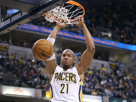 Indiana Pacers David West dunks for two points in the second half. Indiana Pacers host the Cleveland Cavaliers December 31, 2013, at Bankers Life Fieldhouse.