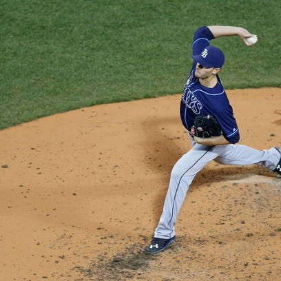 Tampa Bay Rays pitcher Jake Odorizzi  delivers in the