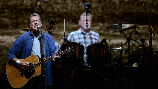 Glenn Frey and Don Henley of The Eagles perform during the History of The Eagles tour at the Resch Center in Ashwaubenon on Sunday.