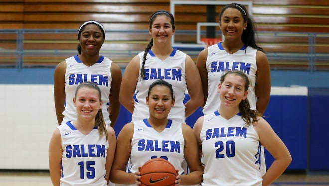 Salem's senior girls basketball players are closing out long careers together in winning fashion. In the front row (from left) are Katie Latack, Maranda Armstead and Hayley Rogers. Standing (from left) are Jamyra Wilson, Allison First and Shara Long.
