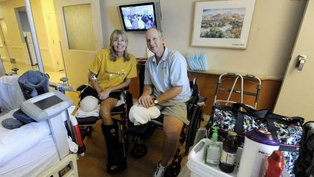 Linda and Brian Elvin, who suffered injuries in the Reno Air Races crash in September, sit in their room at Renown Regional Medical Center in October.
