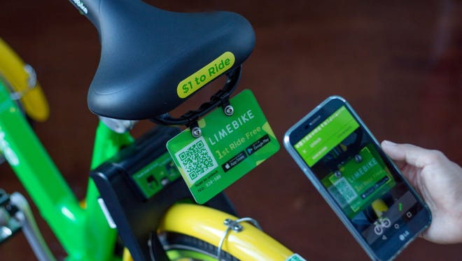 LimeBike is a dockless bike share system that allows riders to ride anywhere in a city for $1 an hour using their smartphone.