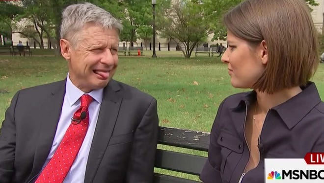 Libertarian presidential Gary Johnson during and MSNBC interview. Really.