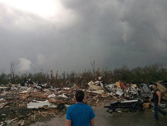 DELETES REFERENCE TO DEAQTH TOLL - This photo provided by James Bryant shows tornado damage, Sunday, April 27, 2014 in Mayflower, Ark. A powerful storm system rumbled through the central and southern United States on Sunday, spawning several tornadoes, including one  in a small northeastern Oklahoma city and another that carved a path of destruction through several northern suburbs of Little Rock, Ark. (AP Photo/Courtesy of James Bryant) MANDATORY CREDIT