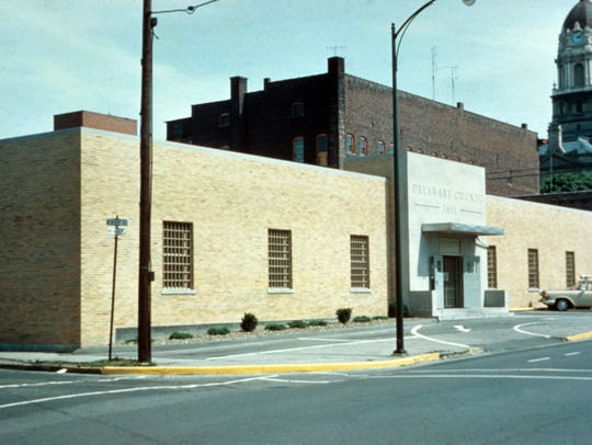 Photo of the old Delaware County Jail in 1958 located