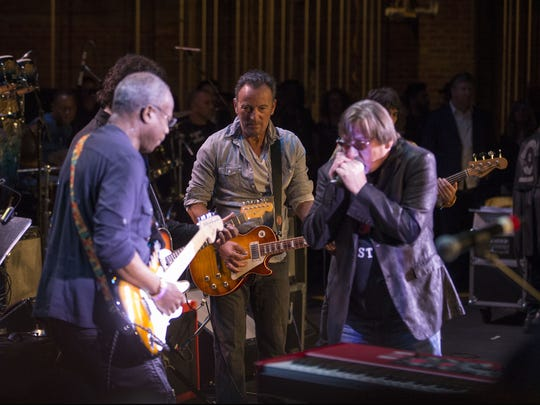 David Sancious, from left, performs with Bruce Springsteen and Southside Johnny Lyon at the 2017 Asbury Park Music and Film Festival.