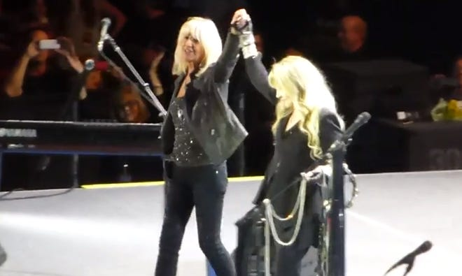 Christine McVie and Stevie Nicks at Fleetwood Mac's concert at the O2 Arena in London, Sept. 25, 2013.