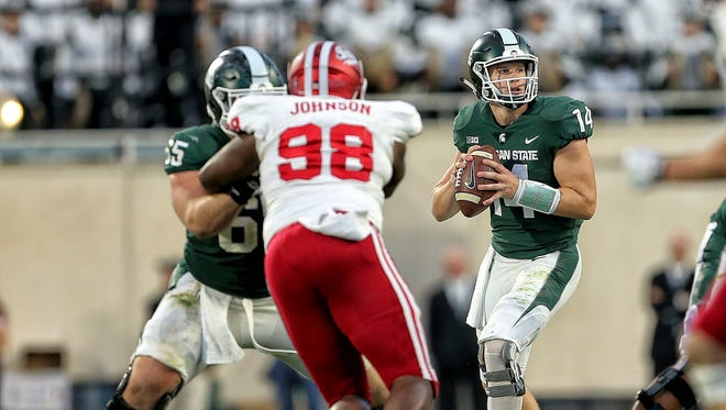 Michigan State quarterback Brian Lewerke was 16 of 29 for 185 yards and a touchdown against Indiana on Saturday.