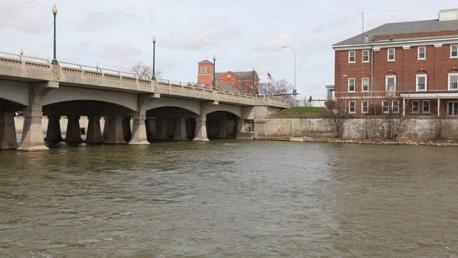 The River Raisin flows through downtown Monroe.