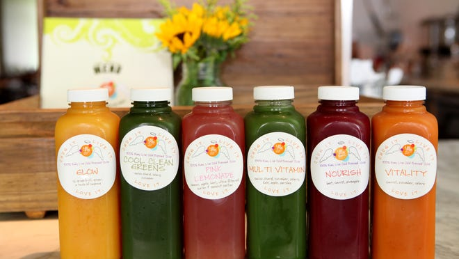 A variety of juices at Lilli Pilli in White Plains.