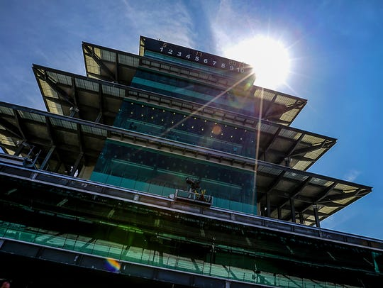 The sun peaks around the Pagoda at the Indianapolis