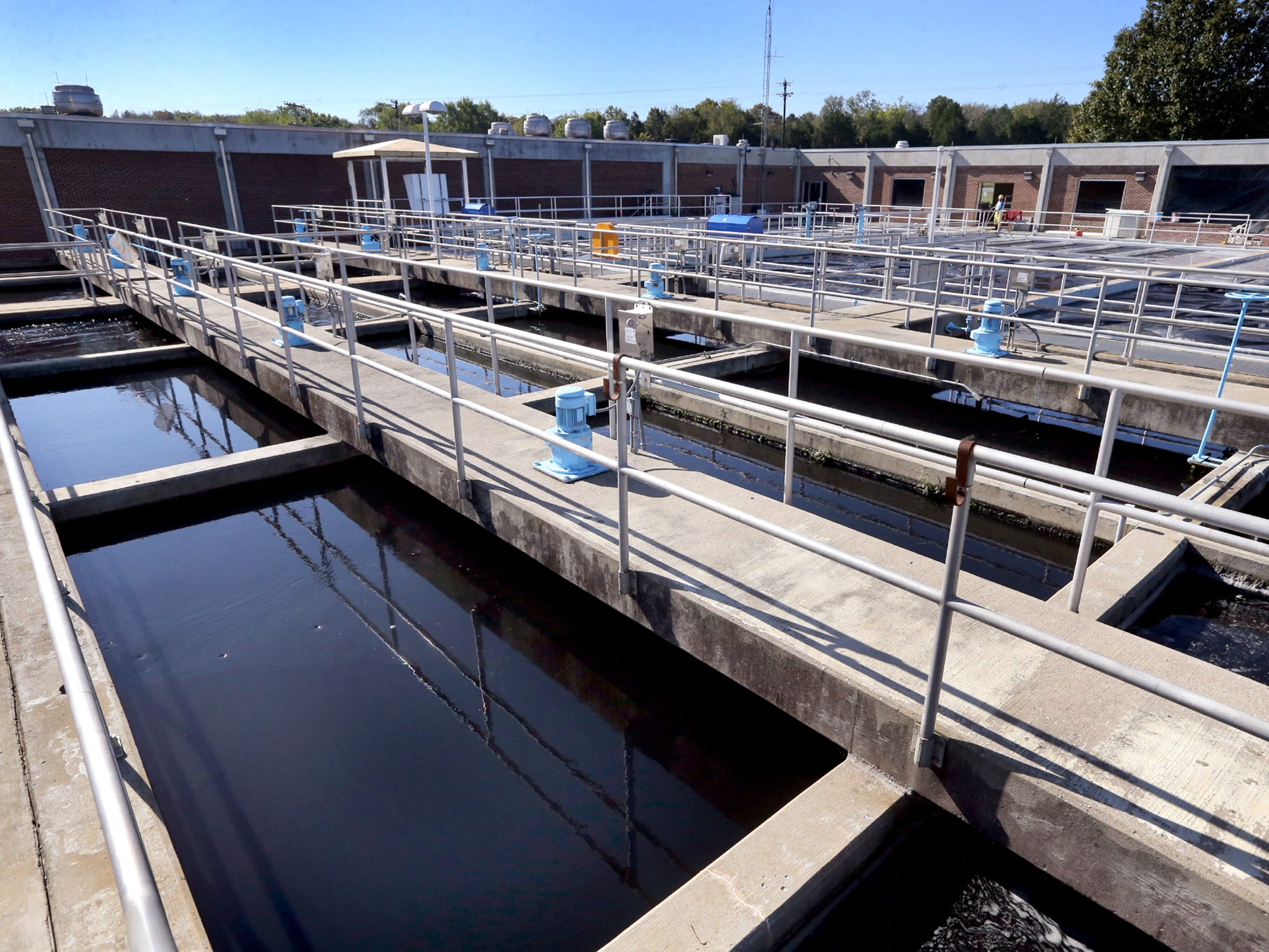 The mixing and sedimentation tanks at the K. Thomas Hutchinson Water Treatment Plant in Rutherford County on Tuesday, Oct. 13, 2015, where water from the East Fork of the Stones River is pumped.