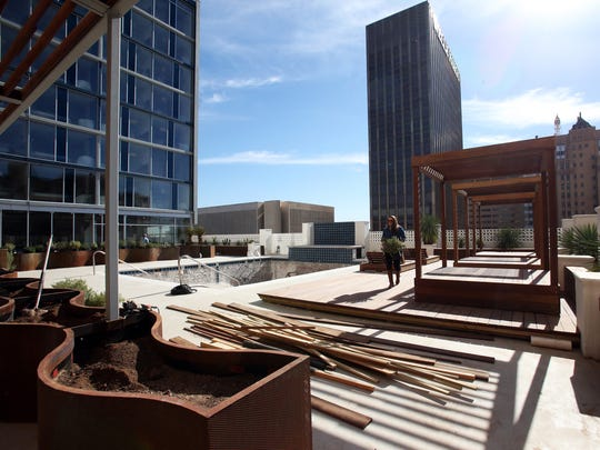 Decking and landscaping are still being installed in the outdoor lounge and pool area of the new Hotel Indigo in Downtown El Paso.