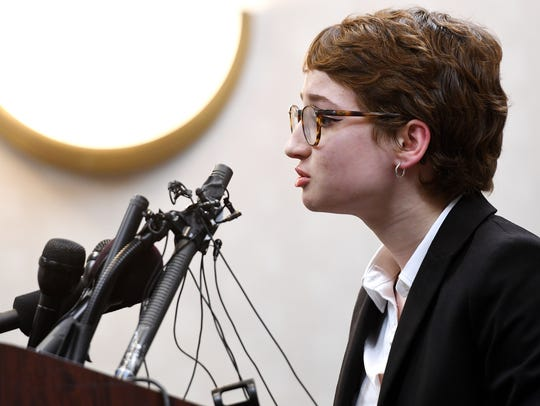 Morgan McCaul speaks during a press conference on Wednesday,