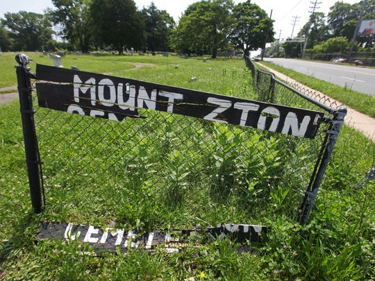 A sign at the entrance of Mt. Zion Cemetery on Lancaster Pike near Wilmington in June 2014.