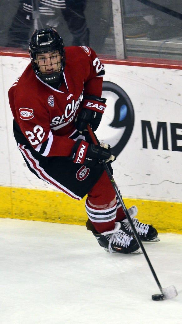 St. Cloud State's Jonny Brodzinski skates with the