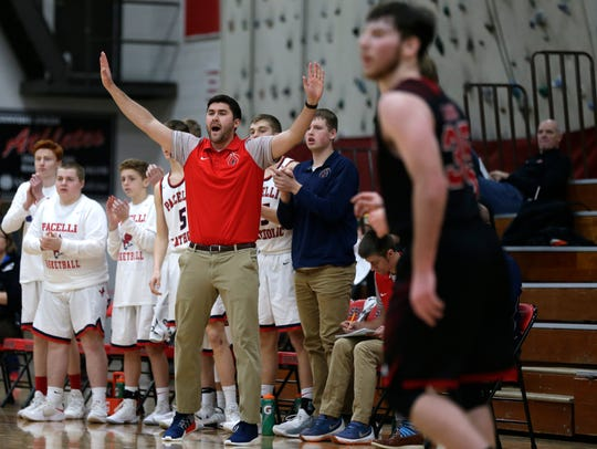 Pacelli head coach Matt Resch reacts after his team