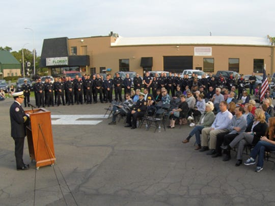 "Brighton Area Fire Authority Chief Michael O'Brian thanks those in attendance at the annual 9-11 tribute held at Station 31 Monday, Sept. 11, commenting on how attendance at this events ""slowly fades away."""