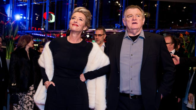 "British actress Emma Thompson and Irish actor Brendan Gleeson arrive for the premiere of  ""Alone in Berlin"" during the 66th annual Berlin International Film Festival in Berlin, Feb. 15, 2016."