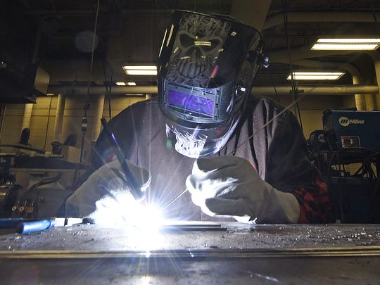 Gary Stanton of Galion demonstrates his newly aquired craft of welding that he learned at Pioneer Career and Technology Center over the past year.